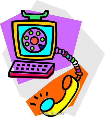 computer telephone concept Royalty Free Vector Clip Art illustration vc011878