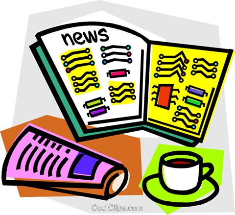 morning coffee with newspaper Royalty Free Vector Clip Art illustration vc011881