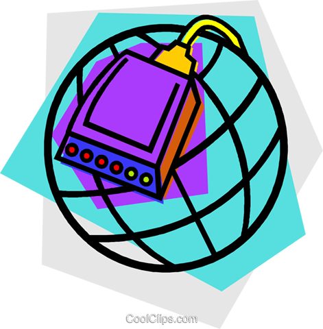 modem with globe design Royalty Free Vector Clip Art illustration vc011889