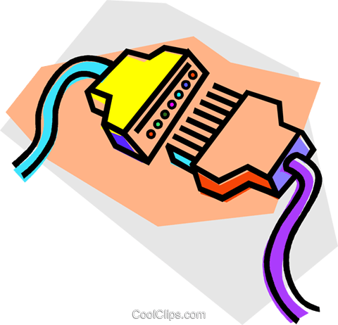 computer cables Royalty Free Vector Clip Art illustration vc011890