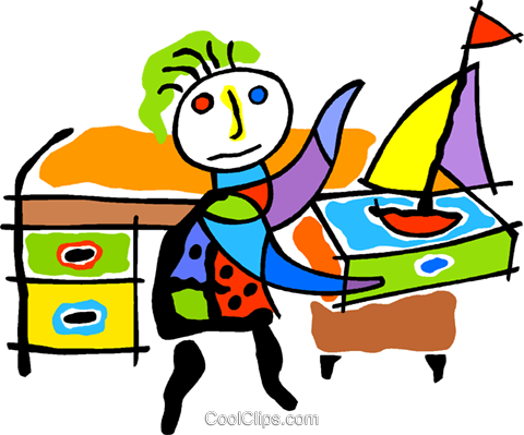 boy at desk with toy sailboat Royalty Free Vector Clip Art illustration vc011940