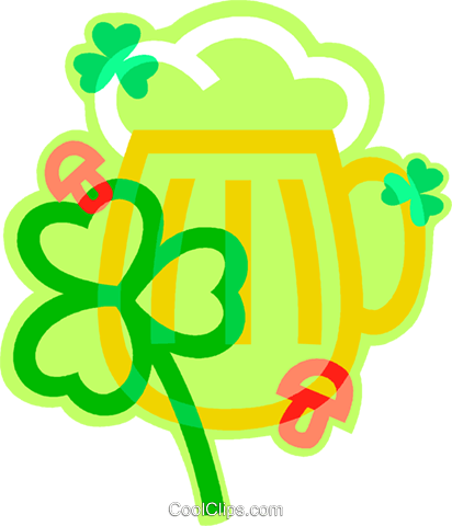 St. Patrick's Day beer with shamrock Royalty Free Vector Clip Art illustration vc011949