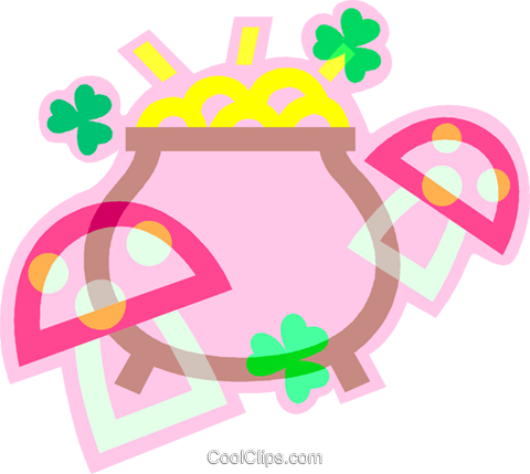 pot of gold Royalty Free Vector Clip Art illustration vc011950