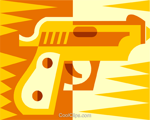 hand gun Royalty Free Vector Clip Art illustration vc011967