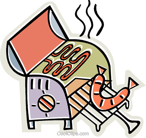 bbq with sausage cooking Royalty Free Vector Clip Art illustration vc011977
