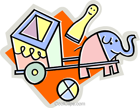 elephant pulling cart Royalty Free Vector Clip Art illustration vc011981