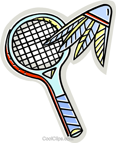 Badminton racket and birdie Royalty Free Vector Clip Art illustration vc011982