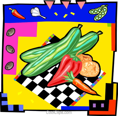 mixed vegetables Royalty Free Vector Clip Art illustration vc011992