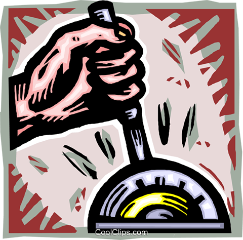 hand controlling a machine gear Royalty Free Vector Clip Art illustration vc012013