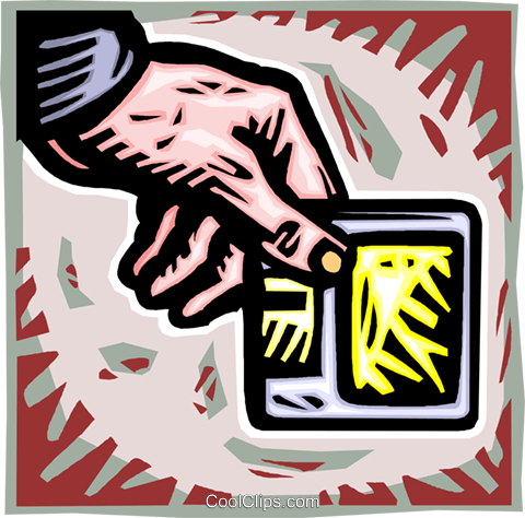 hand holding diskette Royalty Free Vector Clip Art illustration vc012018
