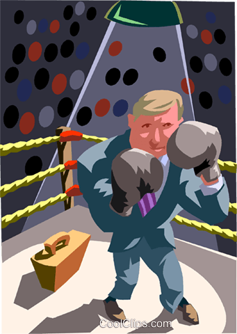 Businessman boxing Royalty Free Vector Clip Art illustration vc012026