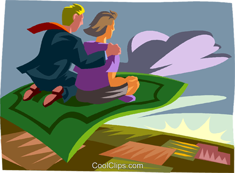 magic carpet ride Royalty Free Vector Clip Art illustration vc012030