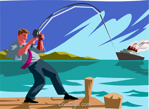 businessman fishing Royalty Free Vector Clip Art illustration vc012037