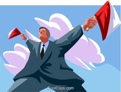 Businessman directing traffic Royalty Free Vector Clip Art illustration vc012049