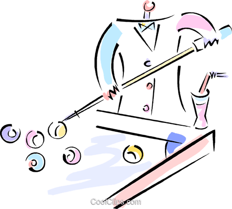 shooting pool Royalty Free Vector Clip Art illustration vc012068