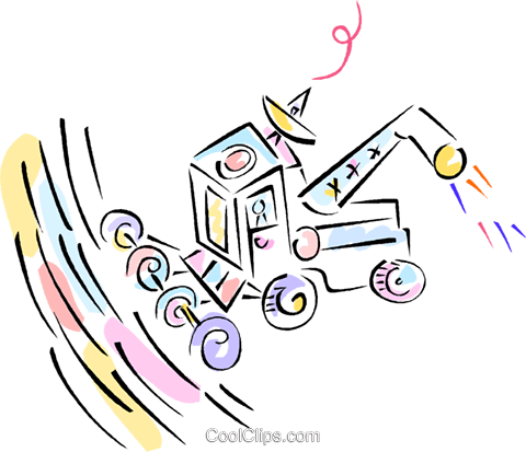 tractor with satellite dish Royalty Free Vector Clip Art illustration vc012078
