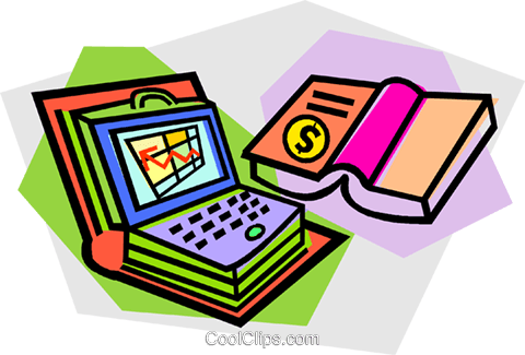 books, computers Royalty Free Vector Clip Art illustration vc012138