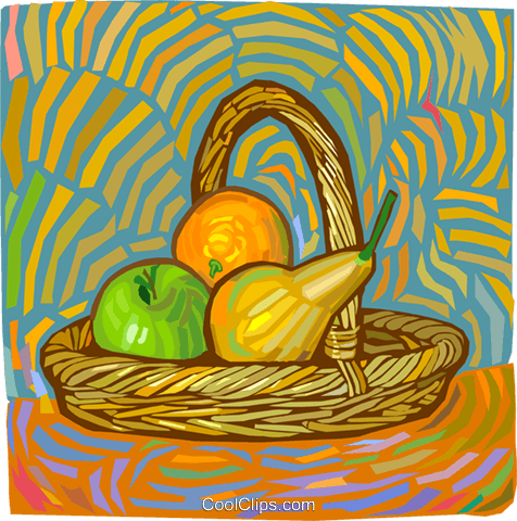 basket of fruit Royalty Free Vector Clip Art illustration vc012243