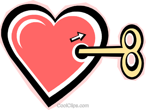wind up toy heart Royalty Free Vector Clip Art illustration vc012294