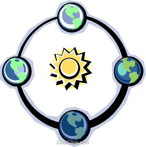 Earth rotating around the sun Royalty Free Vector Clip Art illustration vc012302