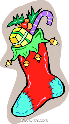 Christmas stocking Royalty Free Vector Clip Art illustration vc012323