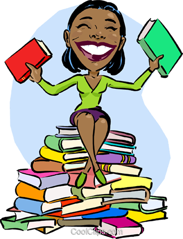 Woman sitting on stack of books she read Royalty Free Vector Clip Art illustration vc012357