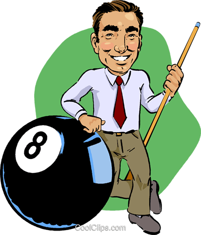 Pool player with eight ball Royalty Free Vector Clip Art illustration vc012367