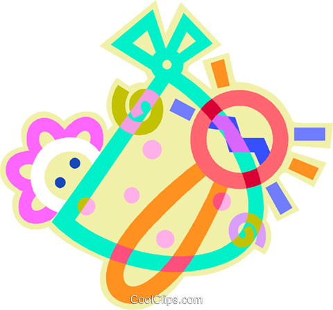 Baby with rattle Royalty Free Vector Clip Art illustration vc012373
