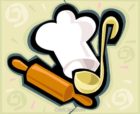 厨师帽,擀面杖,瓢 免版税矢量剪贴画插图