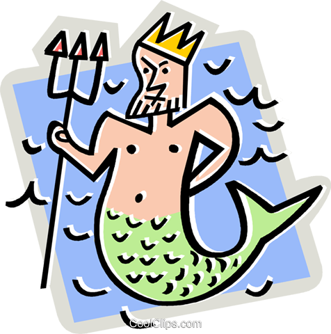 Neptune with trident Royalty Free Vector Clip Art illustration vc012417