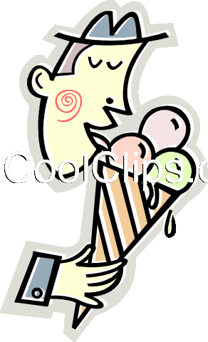 man eating ice cream cone Royalty Free Vector Clip Art illustration vc012433