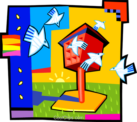 bird house Royalty Free Vector Clip Art illustration vc012440