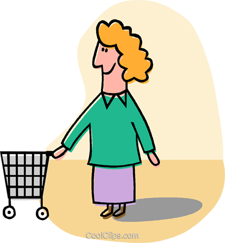 woman with shopping cart Royalty Free Vector Clip Art illustration vc012837