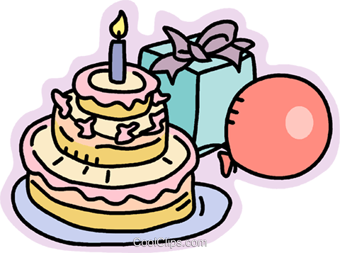 Birthday Cake Presents And Balloons Royalty Free Vector Clip Art Illustration Vc012892 Coolclips Com