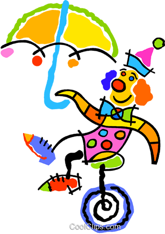 Clown on a unicycle Royalty Free Vector Clip Art illustration vc012909