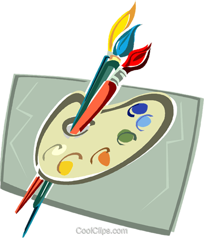 Farbpalette und Pinsel Vektor Clipart Bild -vc012972 ...