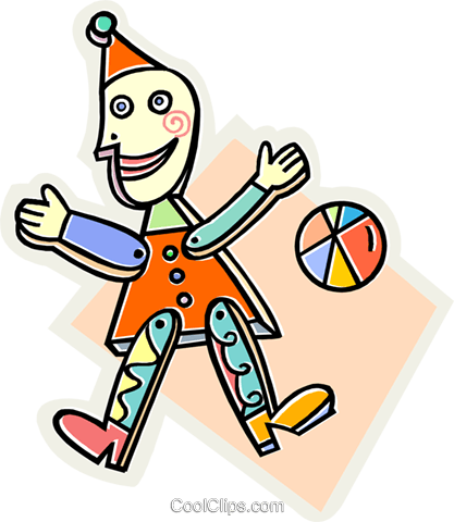Toy clown and ball Royalty Free Vector Clip Art illustration vc013051
