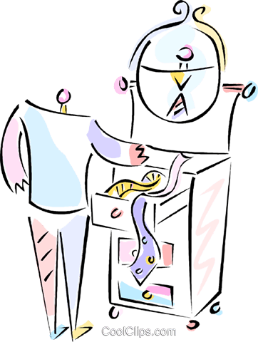 Man picking outa tie Royalty Free Vector Clip Art illustration vc013177