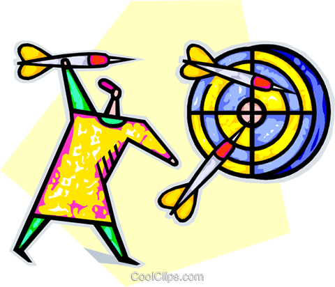 Woman throwing darts Royalty Free Vector Clip Art illustration vc013320