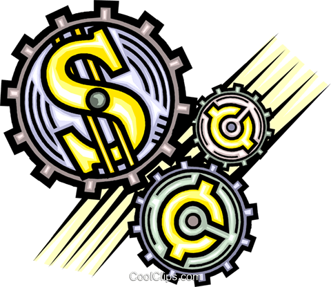 financial gears Royalty Free Vector Clip Art illustration vc013328