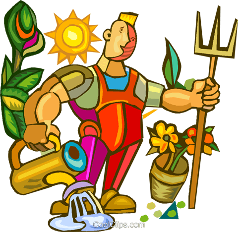 gardener doing yard work royalty free vector clip art illustration rh search coolclips com yard work clipart black and white
