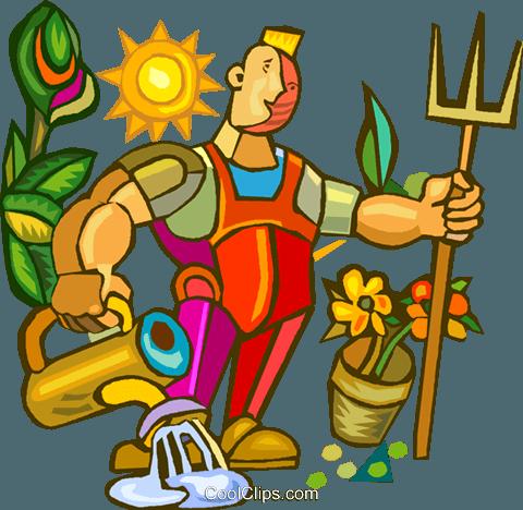 gardener doing yard work royalty free vector clip art illustration rh search coolclips com