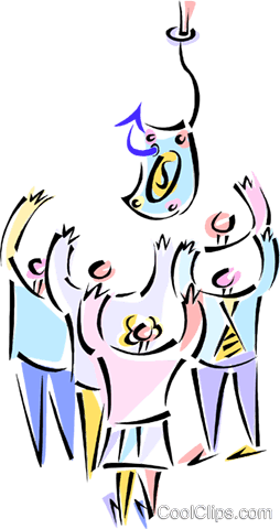business people reaching for money Royalty Free Vector Clip Art illustration vc013495