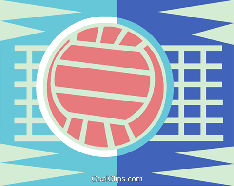 Volleyball net and ball Royalty Free Vector Clip Art illustration vc013582