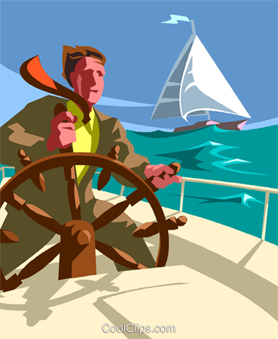 businessman at the helm of a ship Royalty Free Vector Clip Art illustration vc013602