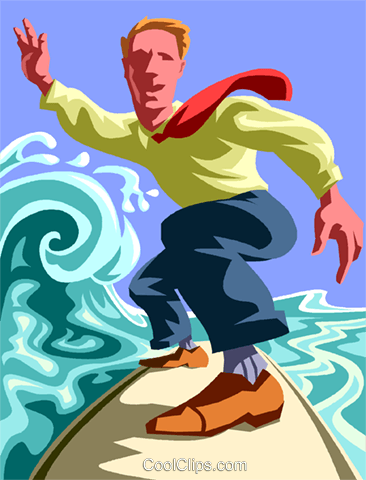 Businessman surfing Royalty Free Vector Clip Art illustration vc013607
