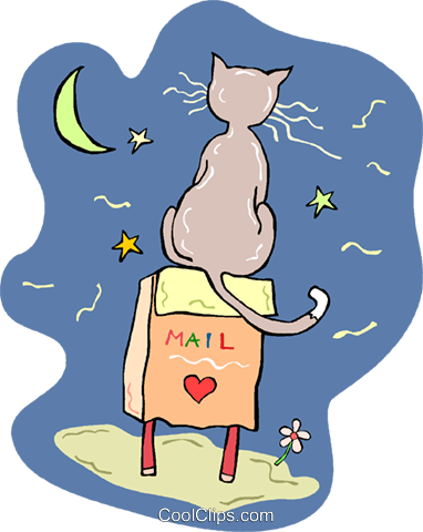 Cat sitting on mailbox Royalty Free Vector Clip Art illustration vc013723