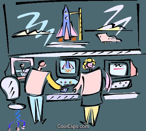 控制室和航天飞机 免版税矢量剪贴画插图图片