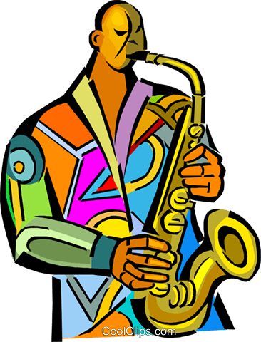 musician playing the saxophone Royalty Free Vector Clip Art illustration vc014063