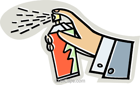 Hand with aerosol can Royalty Free Vector Clip Art illustration vc014085